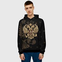Толстовка-худи мужская Золотой Герб России цвета 3D-черный — фото 2