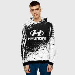 Толстовка-худи мужская Hyundai: Black Spray цвета 3D-черный — фото 2