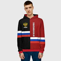 Толстовка-худи мужская Transbaikalia, Russia цвета 3D-красный — фото 2