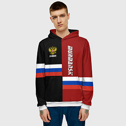 Толстовка-худи мужская Murmansk, Russia цвета 3D-белый — фото 2