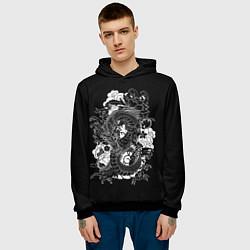 Толстовка-худи мужская Японский дракон цвета 3D-черный — фото 2