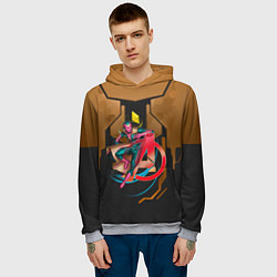 Толстовка-худи мужская Вижен цвета 3D-меланж — фото 2