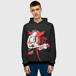 Толстовка-худи мужская Punk-rock цвета 3D-черный — фото 2
