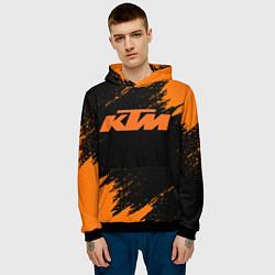Толстовка-худи мужская KTM цвета 3D-черный — фото 2