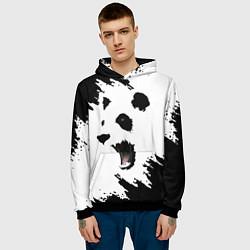 Толстовка-худи мужская Панда ЧБ цвета 3D-черный — фото 2