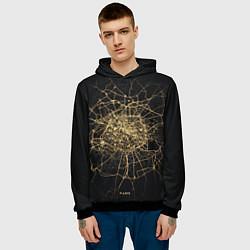 Толстовка-худи мужская Ночная карта Парижа цвета 3D-черный — фото 2