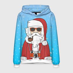 Толстовка-худи мужская Дед мороз цвета 3D-белый — фото 1