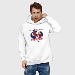 Толстовка оверсайз мужская Washington Capitals Hockey цвета белый — фото 2