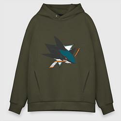 Толстовка оверсайз мужская San Jose Sharks цвета хаки — фото 1
