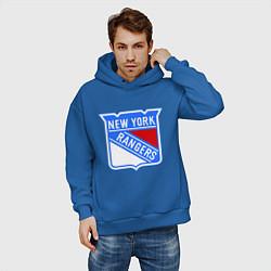 Толстовка оверсайз мужская New York Rangers цвета синий — фото 2