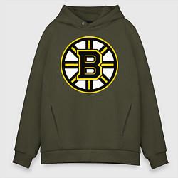 Толстовка оверсайз мужская Boston Bruins цвета хаки — фото 1