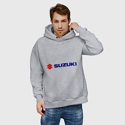 Толстовка оверсайз мужская Suzuki цвета меланж — фото 2