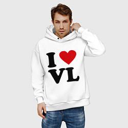 Толстовка оверсайз мужская I love VL цвета белый — фото 2