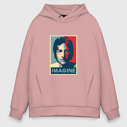 Толстовка оверсайз мужская Lennon Imagine цвета пыльно-розовый — фото 1