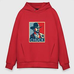 Толстовка оверсайз мужская Chuck Poster цвета красный — фото 1