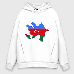 Толстовка оверсайз мужская Azerbaijan map цвета белый — фото 1