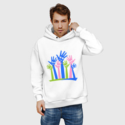 Толстовка оверсайз мужская Hands Up цвета белый — фото 2