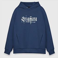 Толстовка оверсайз мужская Stigmata цвета тёмно-синий — фото 1