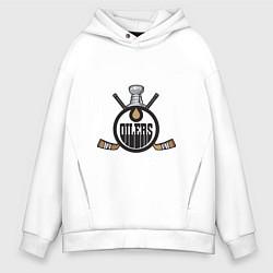 Толстовка оверсайз мужская Edmonton Oilers Hockey цвета белый — фото 1