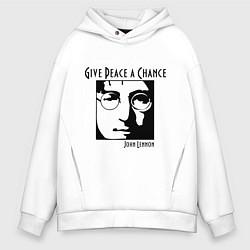 Толстовка оверсайз мужская Give Peace a Chance цвета белый — фото 1