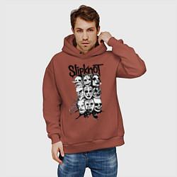 Толстовка оверсайз мужская Slipknot Faces цвета кирпичный — фото 2