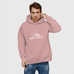Толстовка оверсайз мужская Hope Count: Mountain цвета пыльно-розовый — фото 2