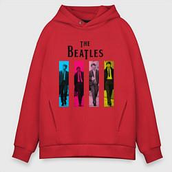 Толстовка оверсайз мужская Walking Beatles цвета красный — фото 1
