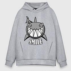 Толстовка оверсайз мужская Shark Smile цвета меланж — фото 1