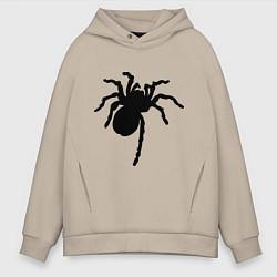 Толстовка оверсайз мужская Черный паук цвета миндальный — фото 1