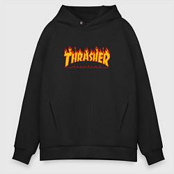 Толстовка оверсайз мужская Thrasher Magazine: Flame Fire цвета черный — фото 1