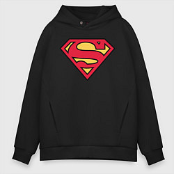 Толстовка оверсайз мужская Superman logo цвета черный — фото 1