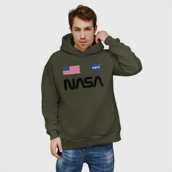 Толстовка оверсайз мужская NASA НАСА цвета хаки — фото 2