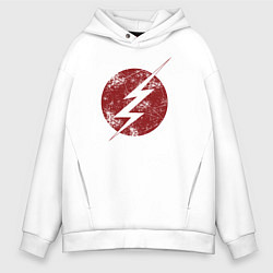Толстовка оверсайз мужская The Flash logo цвета белый — фото 1
