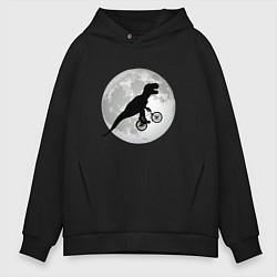 Толстовка оверсайз мужская Динозавр летит на фоне луны цвета черный — фото 1