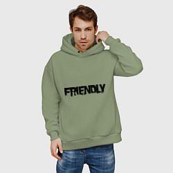Толстовка оверсайз мужская DayZ: Im friendly цвета авокадо — фото 2