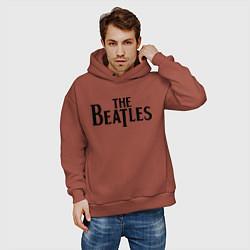 Толстовка оверсайз мужская The Beatles цвета кирпичный — фото 2