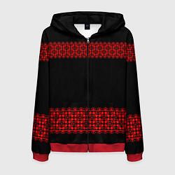 Толстовка 3D на молнии мужская Славянский орнамент (на чёрном) цвета 3D-красный — фото 1