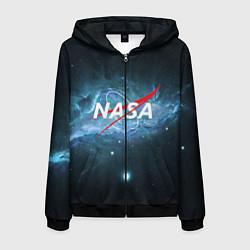 Толстовка 3D на молнии мужская NASA: Space Light цвета 3D-черный — фото 1