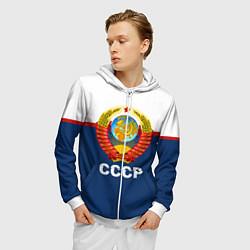 Толстовка 3D на молнии мужская СССР цвета 3D-белый — фото 2