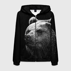 Толстовка 3D на молнии мужская Черно-белый медведь цвета 3D-черный — фото 1