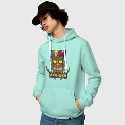 Толстовка-худи хлопковая мужская Aku-Aku (Crash Bandicoot) цвета мятный — фото 2