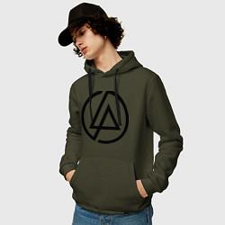 Толстовка-худи хлопковая мужская Linkin Park: Sybmol цвета хаки — фото 2