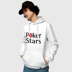 Толстовка-худи хлопковая мужская Poker Stars цвета белый — фото 2