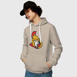 Толстовка-худи хлопковая мужская Ottawa Senators цвета миндальный — фото 2
