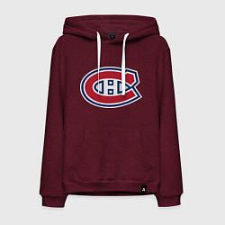 Толстовка-худи хлопковая мужская Montreal Canadiens цвета меланж-бордовый — фото 1