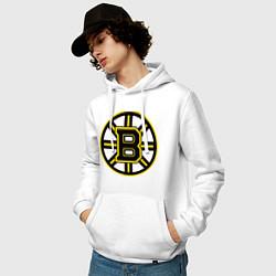Толстовка-худи хлопковая мужская Boston Bruins цвета белый — фото 2