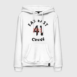 Толстовка-худи хлопковая мужская Far East 41 Crew цвета белый — фото 1