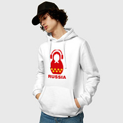 Толстовка-худи хлопковая мужская Russia dj цвета белый — фото 2