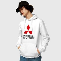 Толстовка-худи хлопковая мужская Mitsubishi цвета белый — фото 2