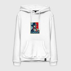 Толстовка-худи хлопковая мужская Chuck Poster цвета белый — фото 1